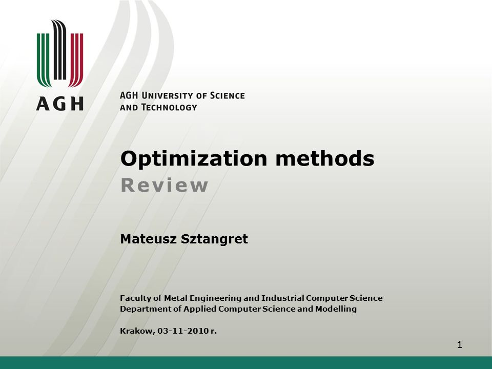 Optimization methods Review