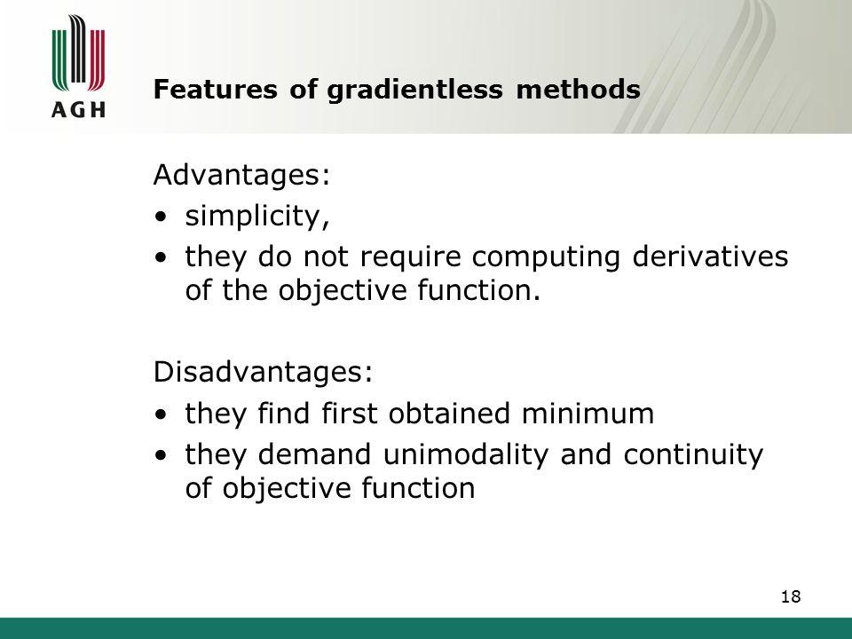 Features of gradientless methods