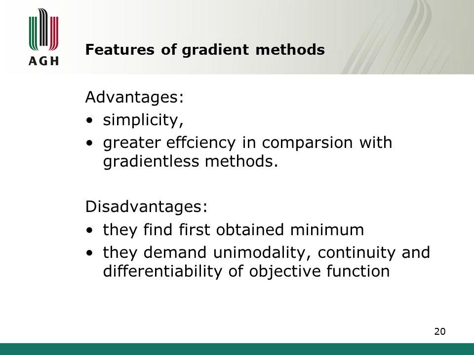 Features of gradient methods