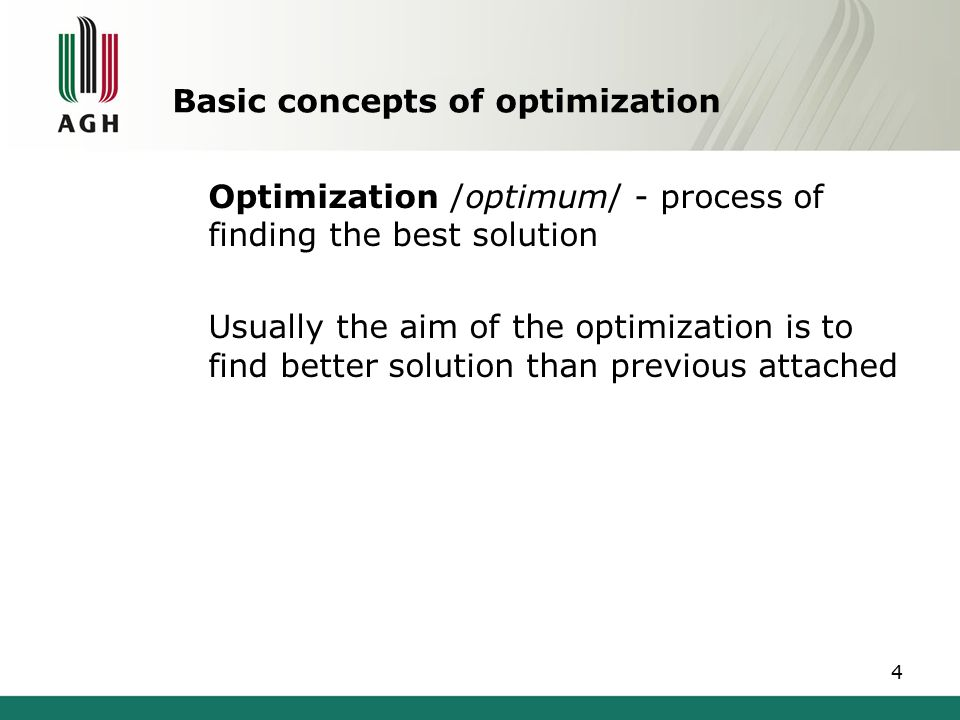 Basic concepts of optimization