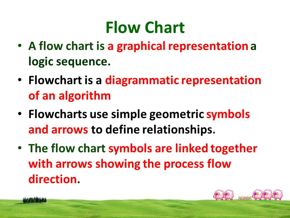 Flow Chart A flow chart is a graphical representation a logic sequence. Flowchart is a diagrammatic representation of an algorithm.