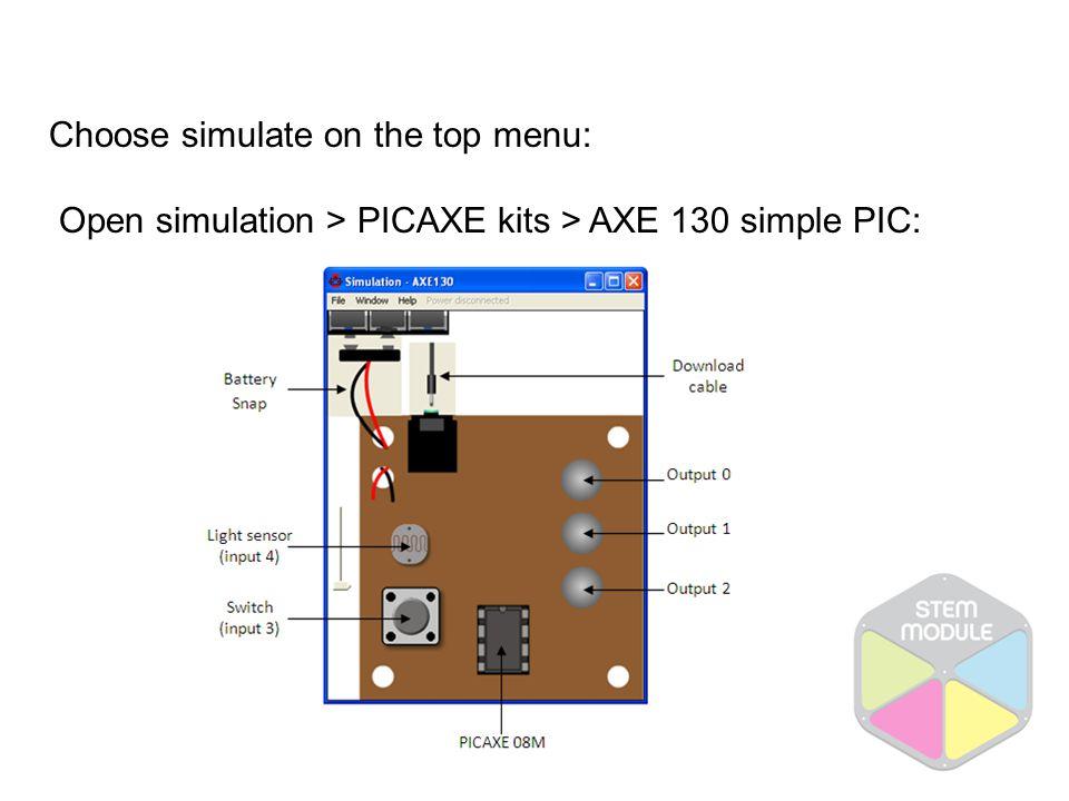 Choose simulate on the top menu: