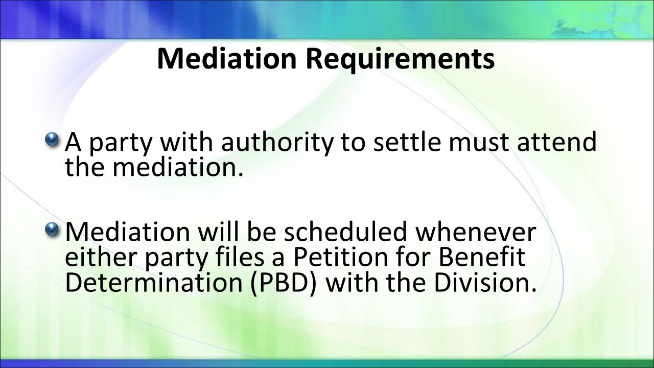 Mediation Requirements