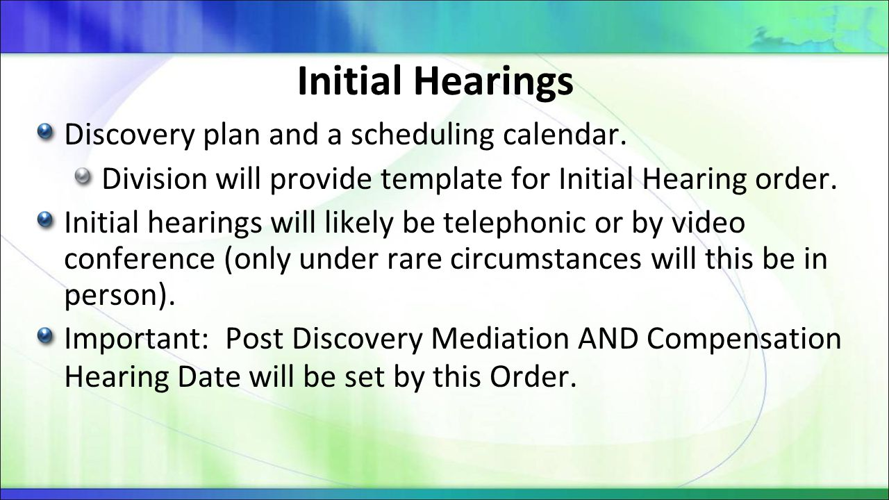 Initial Hearings Discovery plan and a scheduling calendar.