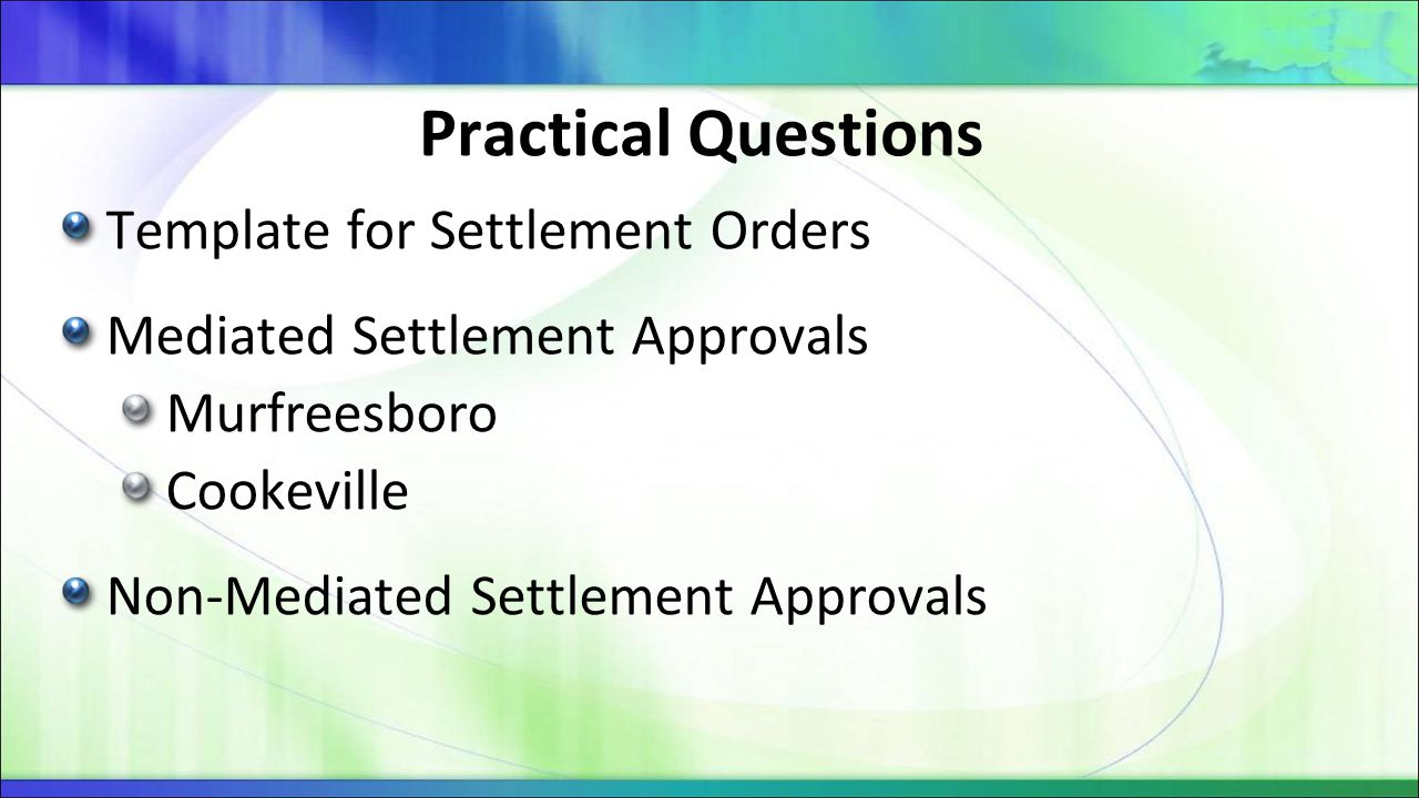Practical Questions Template for Settlement Orders
