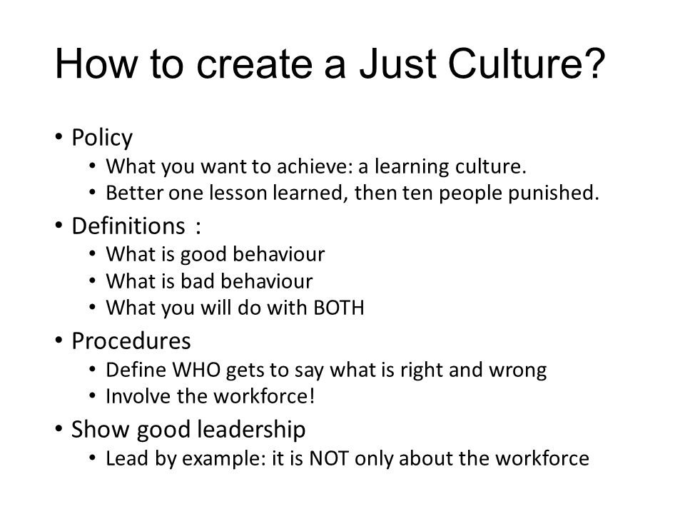 How to create a Just Culture