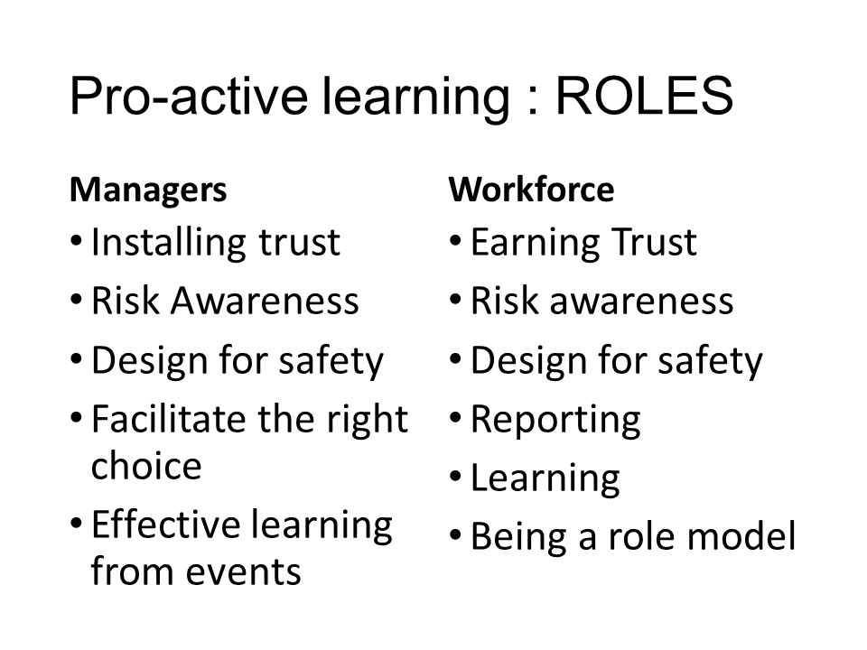Pro-active learning : ROLES