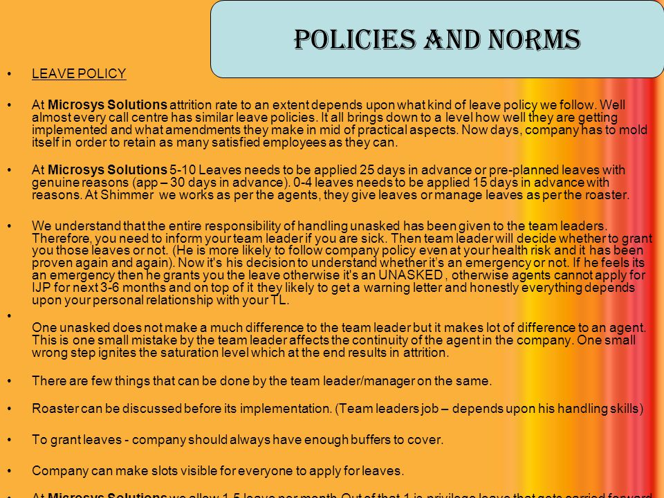 Policies And Norms LEAVE POLICY