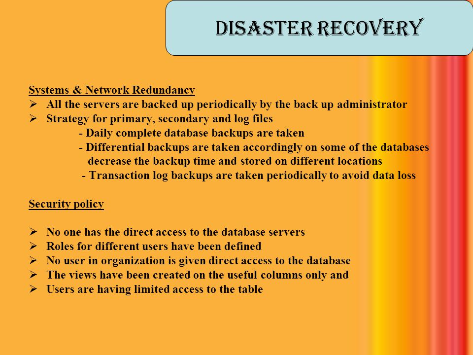 Disaster Recovery Systems & Network Redundancy