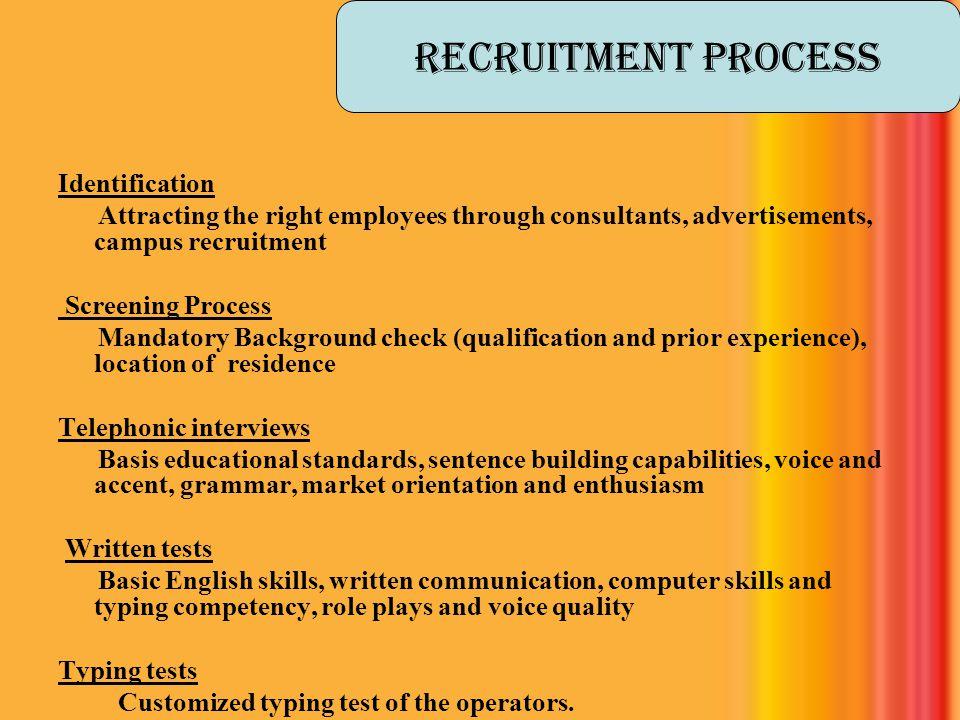 Recruitment process Identification