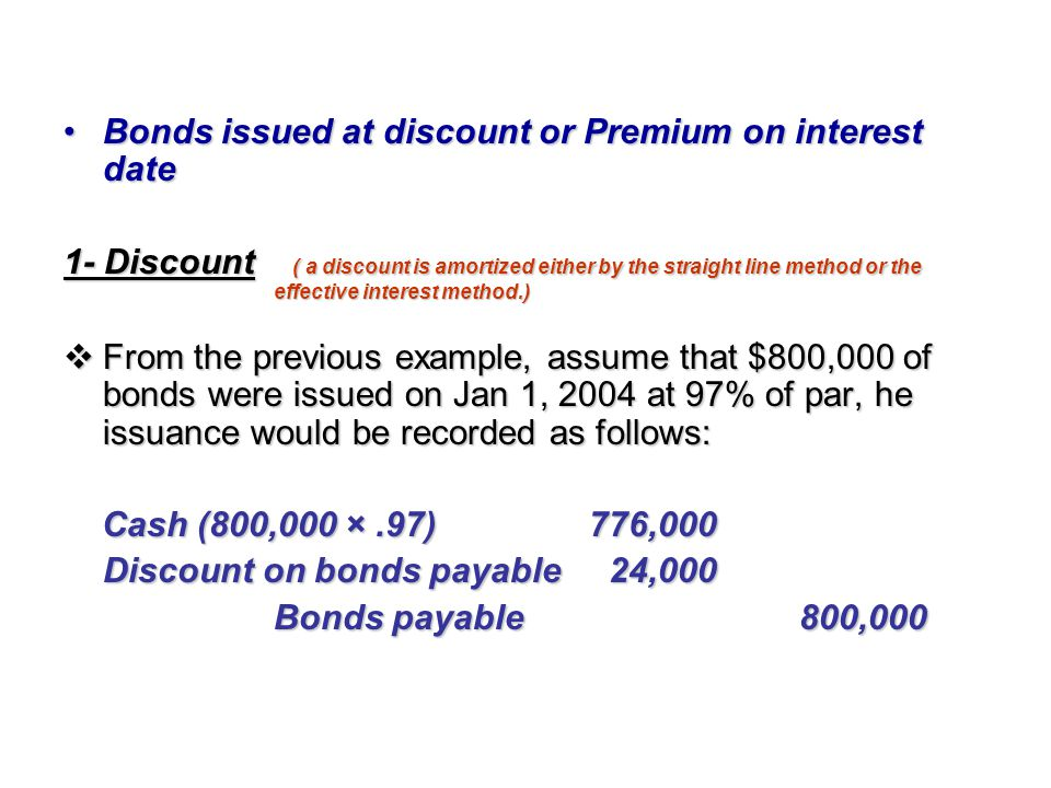 Bonds issued at discount or Premium on interest date