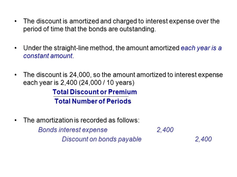 The discount is amortized and charged to interest expense over the period of time that the bonds are outstanding.