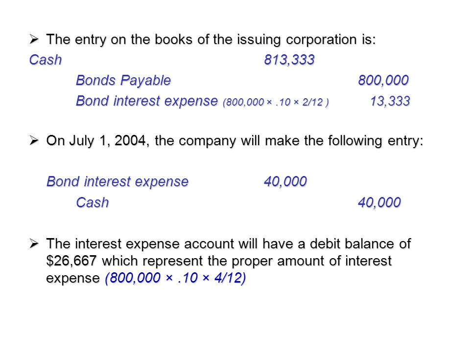 The entry on the books of the issuing corporation is: