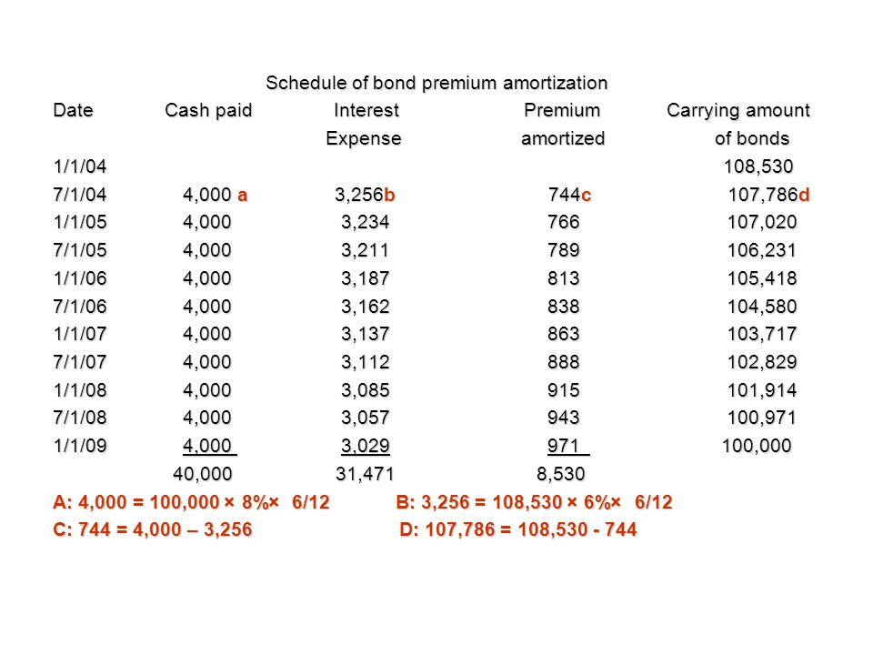 Schedule of bond premium amortization