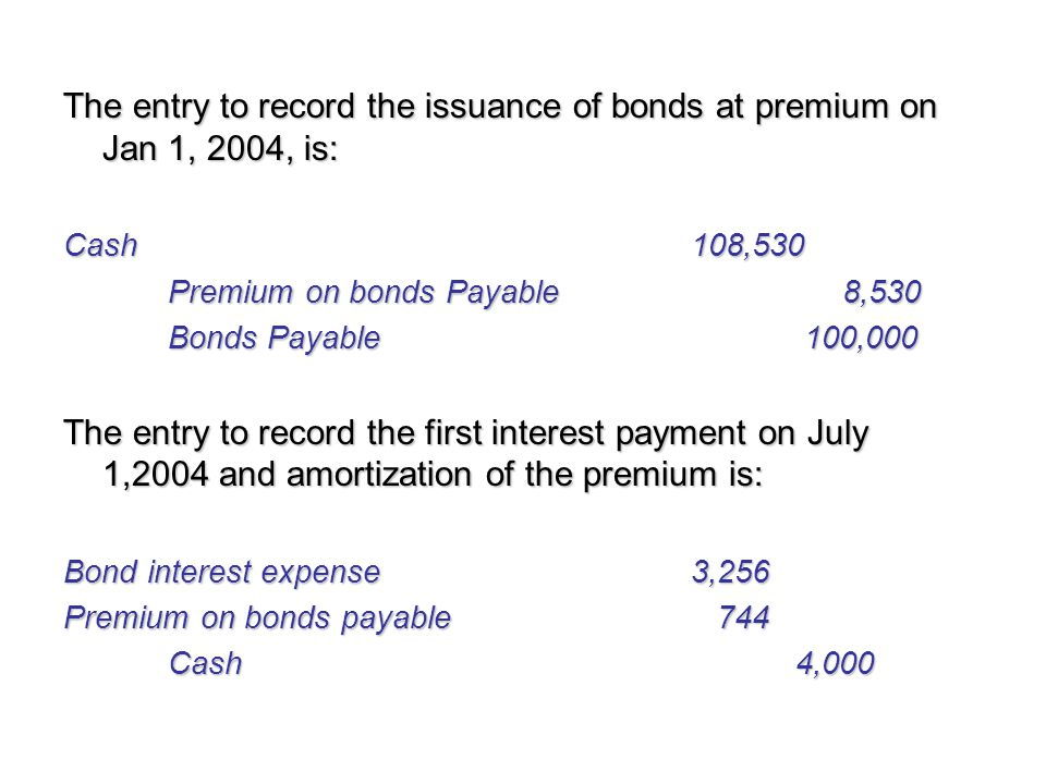 The entry to record the issuance of bonds at premium on Jan 1, 2004, is: