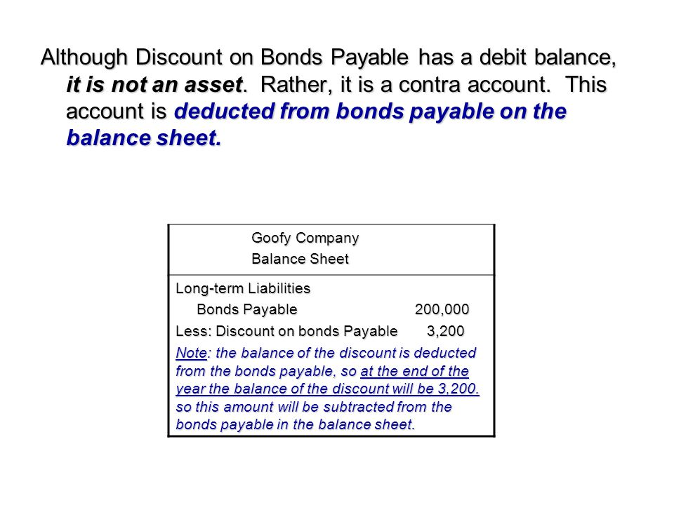 Although Discount on Bonds Payable has a debit balance, it is not an asset. Rather, it is a contra account. This account is deducted from bonds payable on the balance sheet.
