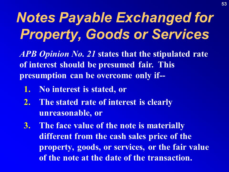 Notes Payable Exchanged for Property, Goods or Services