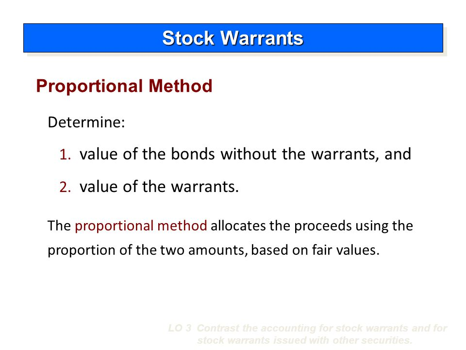 Stock Warrants Proportional Method