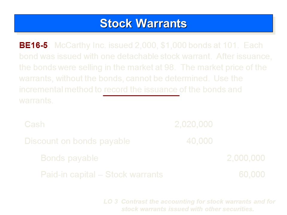 Stock Warrants Cash 2,020,000 Discount on bonds payable 40,000