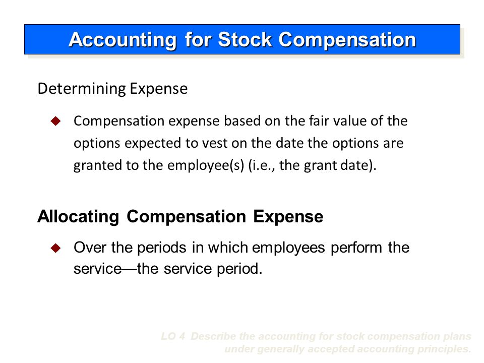 Accounting for stock options granted