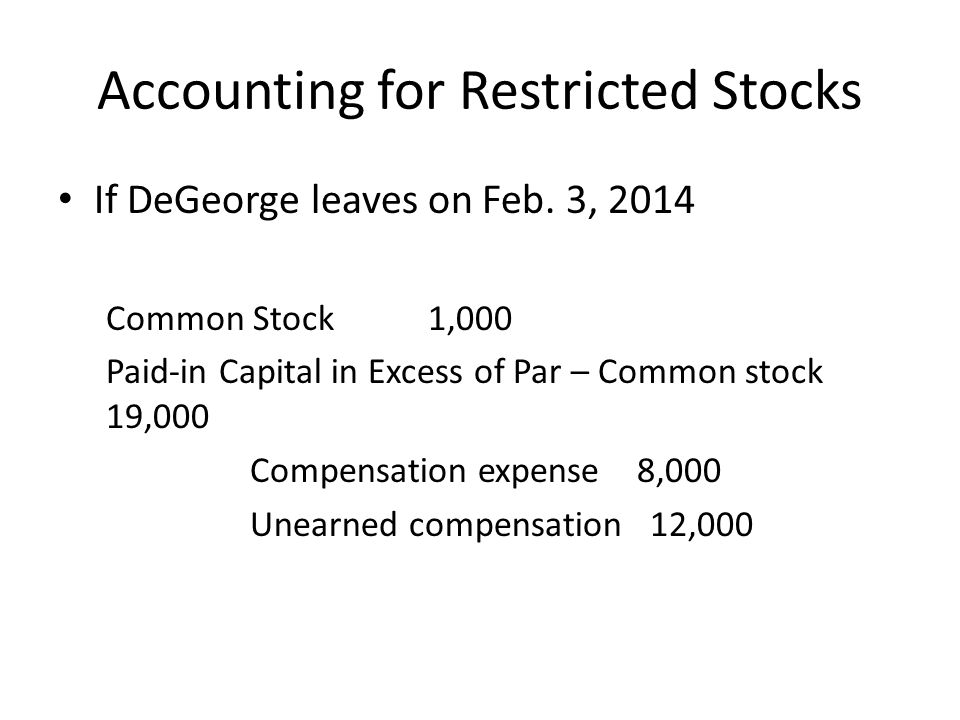 Accounting for Restricted Stocks