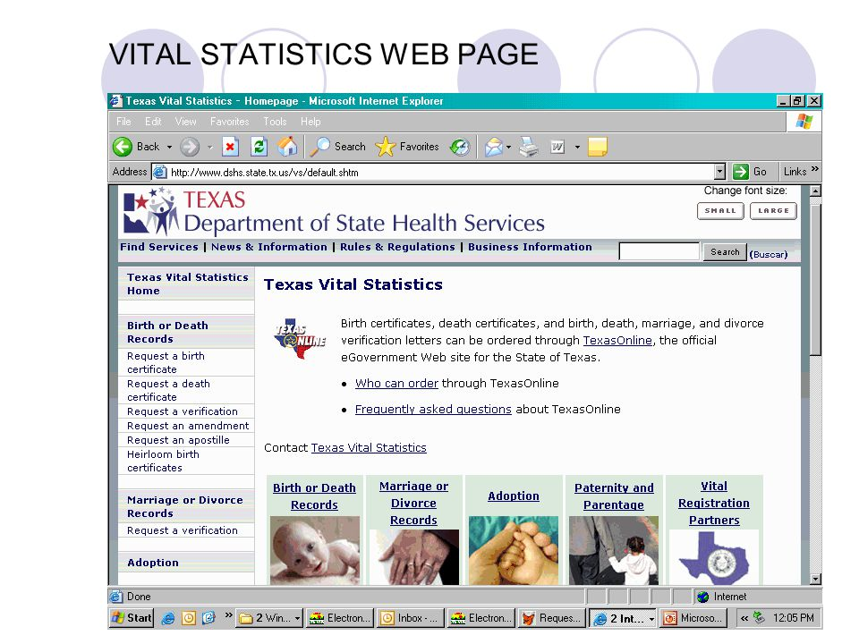 Vital statistics application for birth certificate