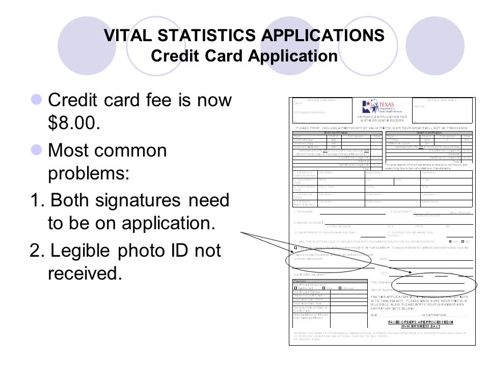 VITAL STATISTICS APPLICATIONS Credit Card Application
