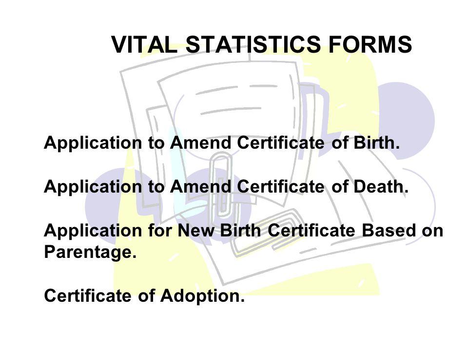 VITAL STATISTICS FORMS