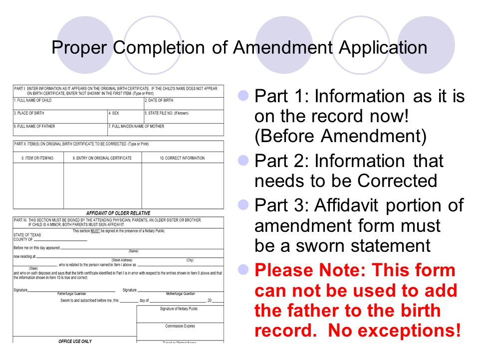 Proper Completion of Amendment Application
