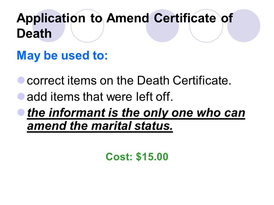 Application to Amend Certificate of Death