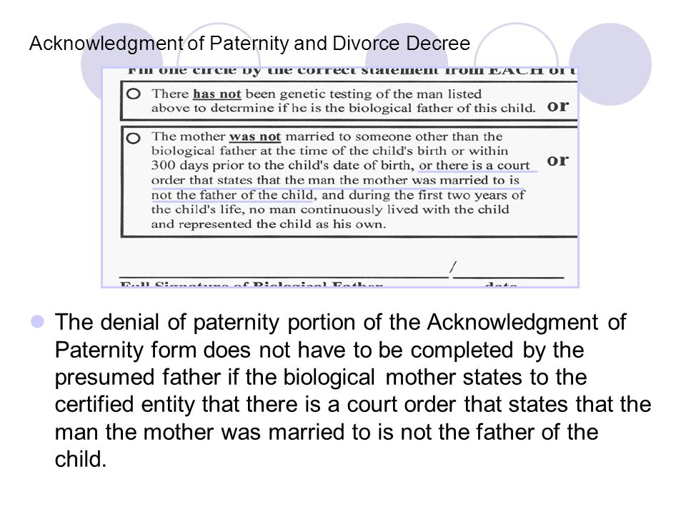 Acknowledgment of Paternity and Divorce Decree