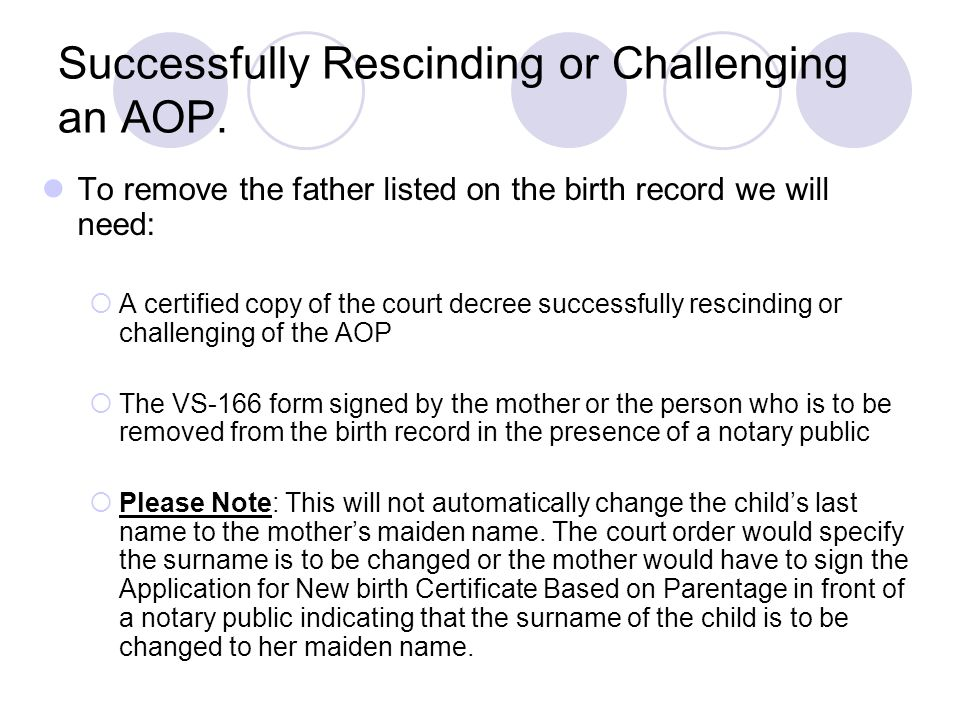Successfully Rescinding or Challenging an AOP.