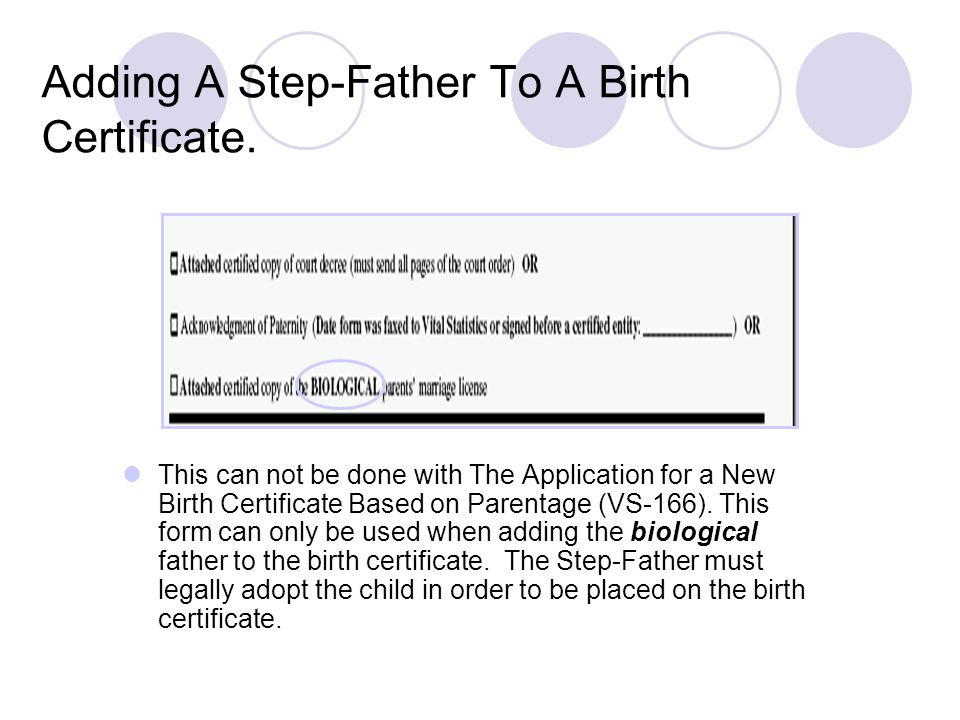 Adding A Step-Father To A Birth Certificate.