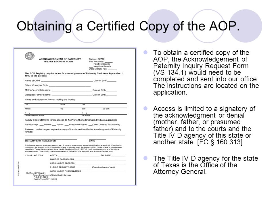 Obtaining a Certified Copy of the AOP.