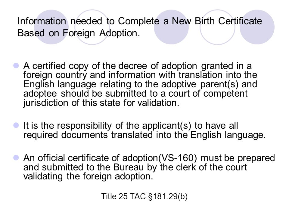 Information needed to Complete a New Birth Certificate Based on Foreign Adoption.