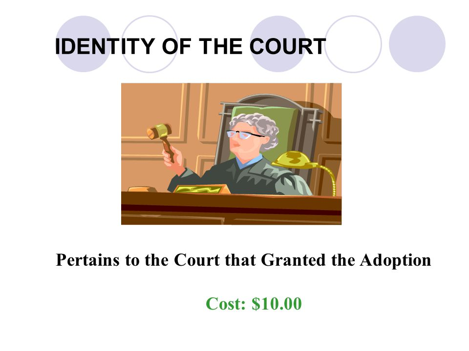 IDENTITY OF THE COURT Pertains to the Court that Granted the Adoption