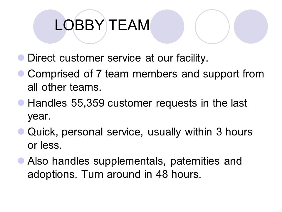LOBBY TEAM Direct customer service at our facility.