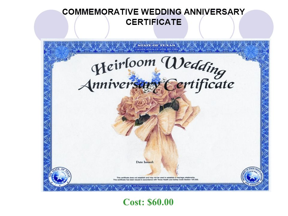 COMMEMORATIVE WEDDING ANNIVERSARY CERTIFICATE