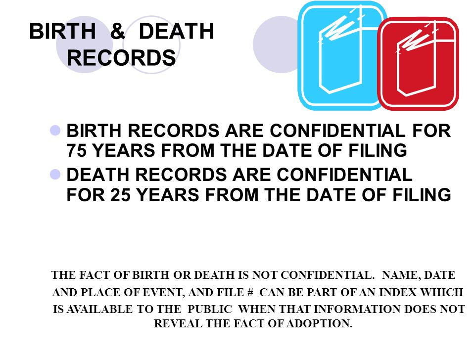 BIRTH & DEATH RECORDS BIRTH RECORDS ARE CONFIDENTIAL FOR 75 YEARS FROM THE DATE OF FILING.