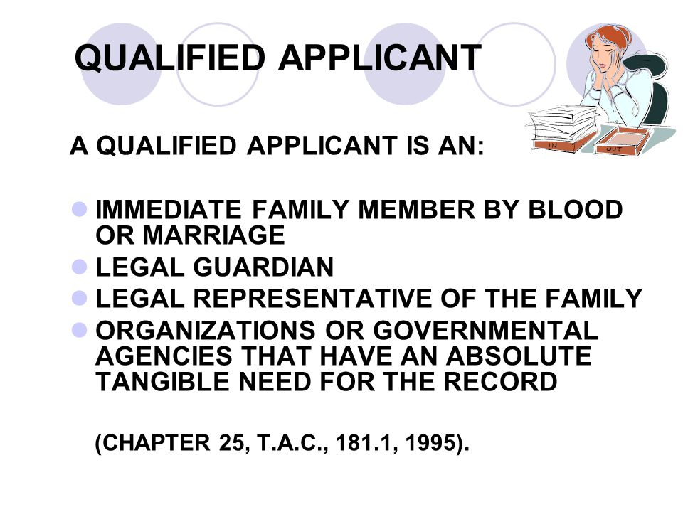 QUALIFIED APPLICANT A QUALIFIED APPLICANT IS AN: