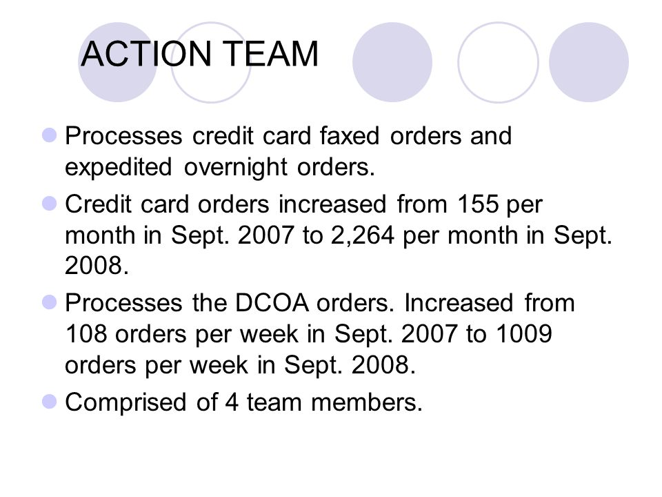 ACTION TEAM Processes credit card faxed orders and expedited overnight orders.