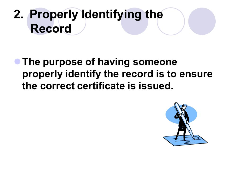2. Properly Identifying the Record
