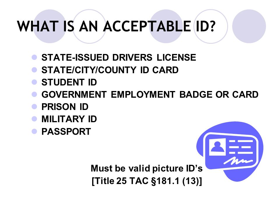 WHAT IS AN ACCEPTABLE ID