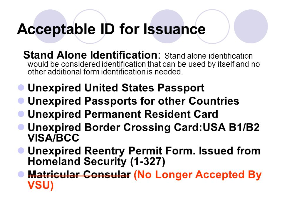 Acceptable ID for Issuance