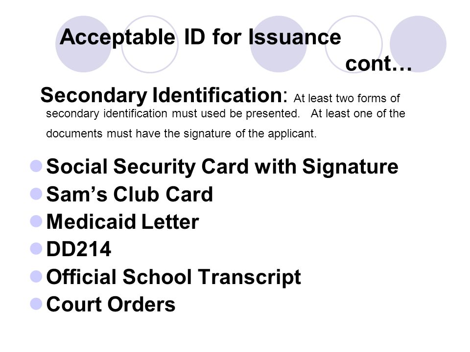 Acceptable ID for Issuance cont…