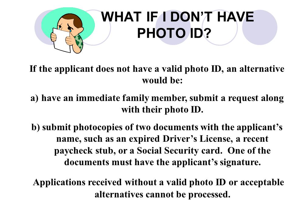 WHAT IF I DON'T HAVE PHOTO ID