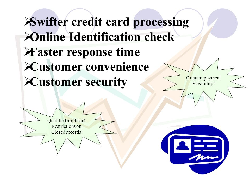 Swifter credit card processing Online Identification check