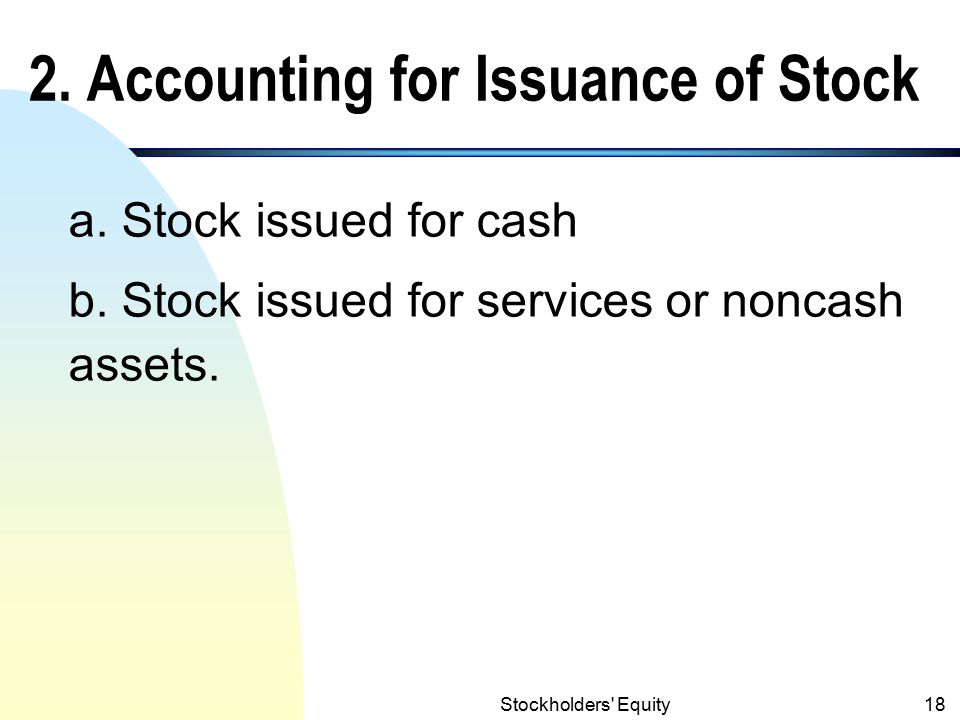 2. Accounting for Issuance of Stock