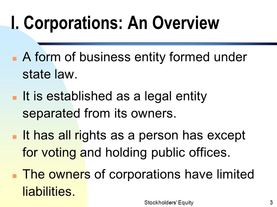 I. Corporations: An Overview