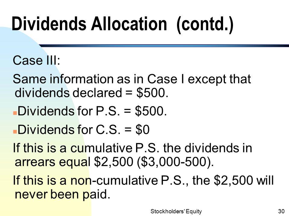 Dividends Allocation (contd.)